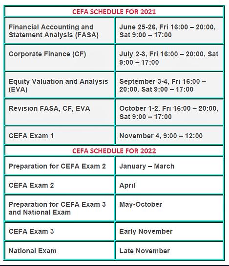 CEFA Schedule 2021